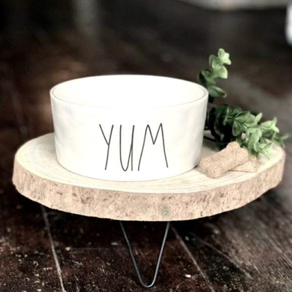 Rae Dunn Large White Ceramic YUM Dog Bowl